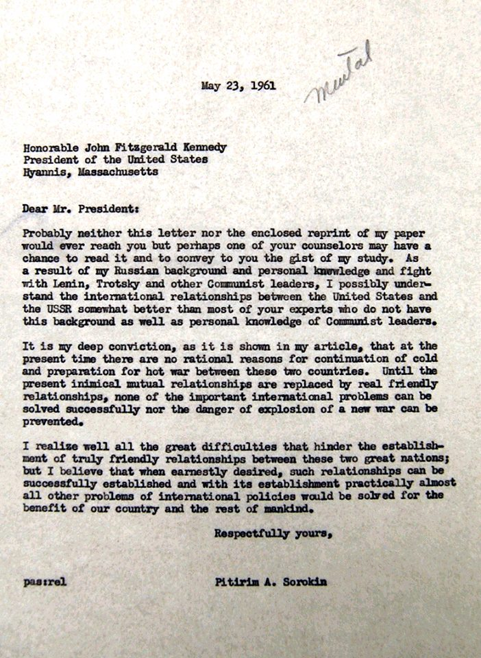 Sorokin letter to JFK 5-23-1961